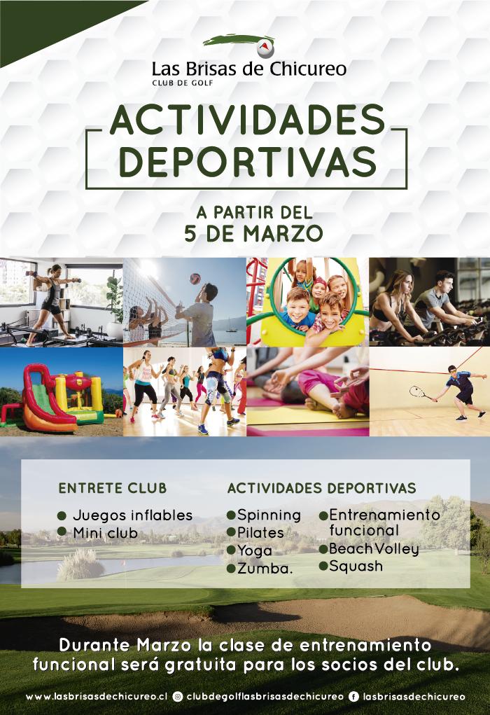Actividades Deportivas 2019  a partir del 05 de Marzo