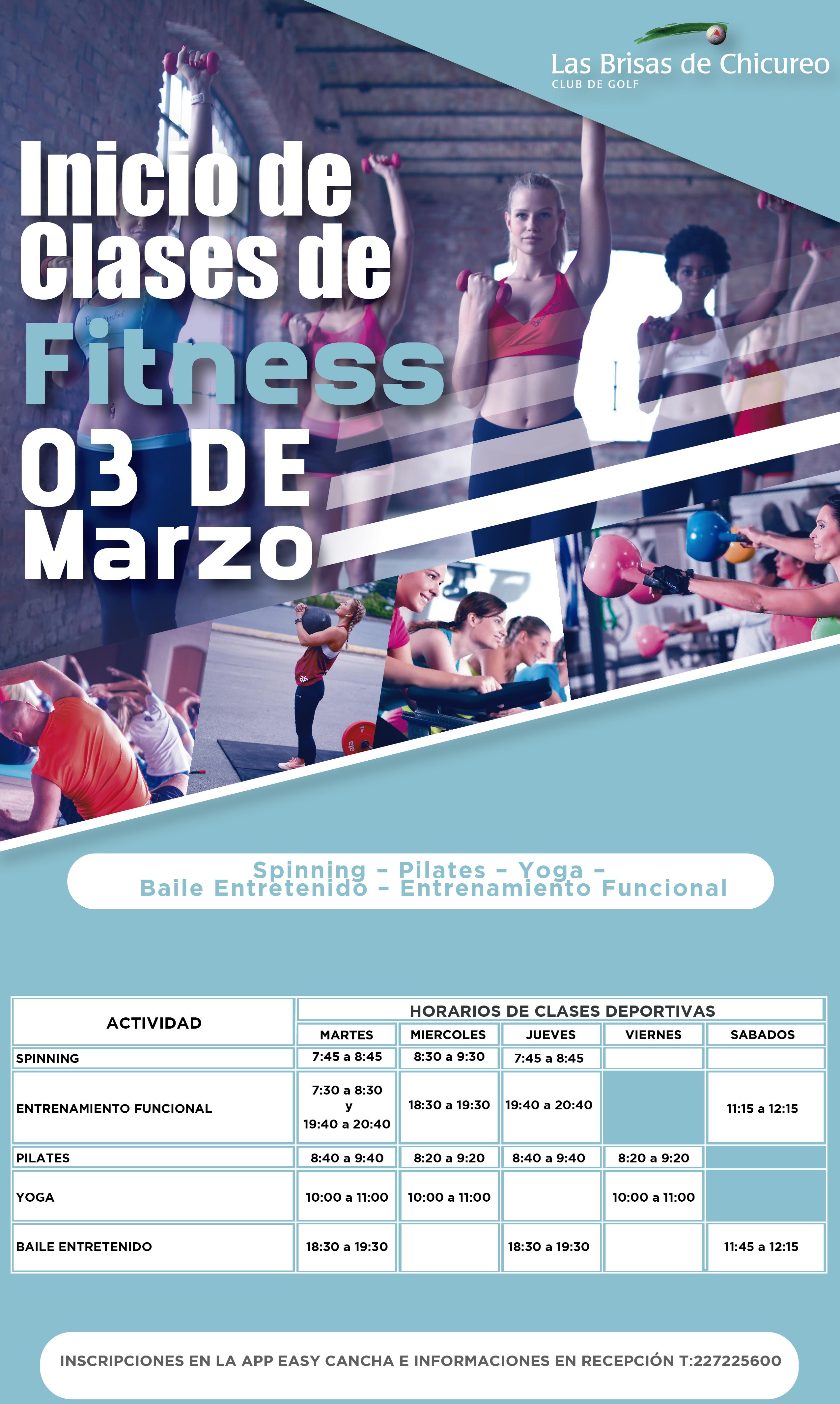Inicio Clases Fitness 2020
